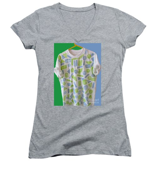 Women's V-Neck T-Shirt (Junior Cut) featuring the painting Emblematic Sierra Leone Tee Shirt by Mudiama Kammoh
