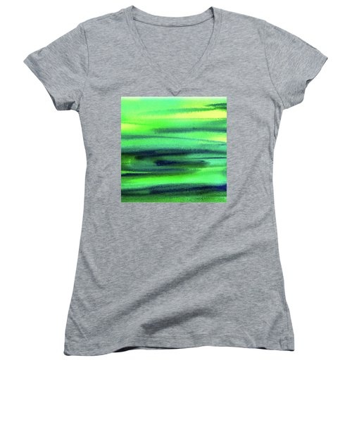 Emerald Flow Abstract Painting Women's V-Neck T-Shirt (Junior Cut) by Irina Sztukowski