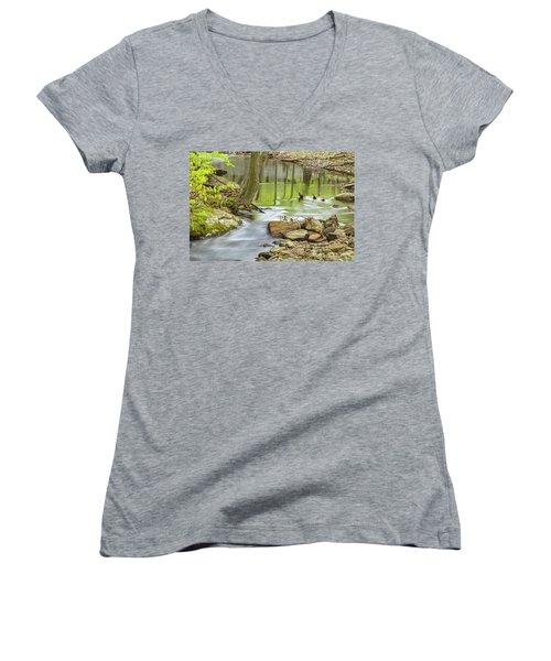 Emerald Liquid Glass Women's V-Neck T-Shirt (Junior Cut) by Angelo Marcialis