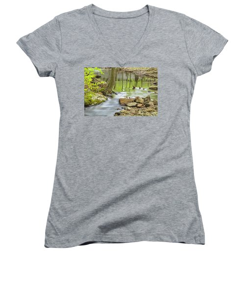 Emerald Liquid Glass Women's V-Neck T-Shirt
