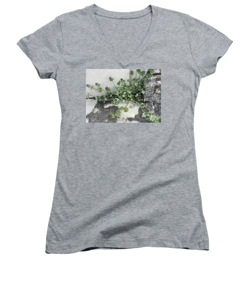 Women's V-Neck T-Shirt (Junior Cut) featuring the painting Emergence by Kim Nelson