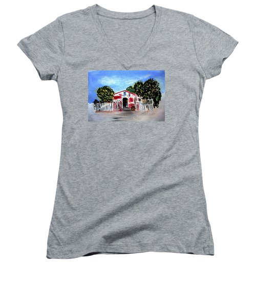 Women's V-Neck T-Shirt (Junior Cut) featuring the painting Emiles Road Side Grocer by Donna Walsh