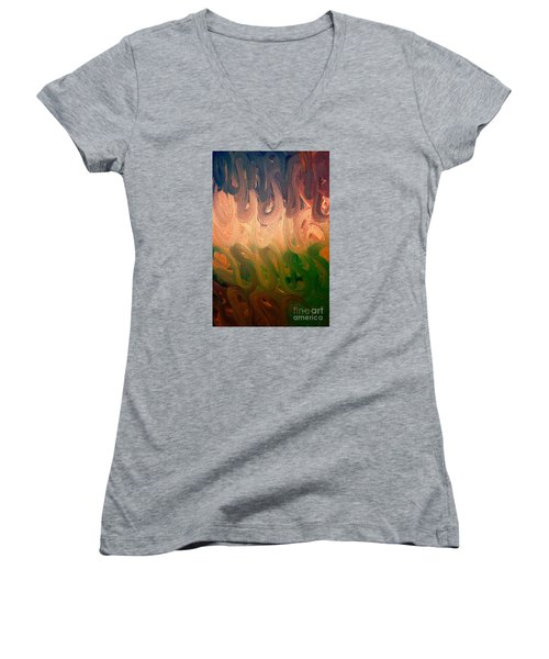 Emotion Acrylic Abstract Women's V-Neck (Athletic Fit)