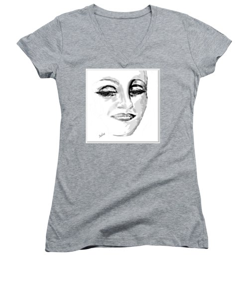Women's V-Neck T-Shirt (Junior Cut) featuring the drawing Empathy by Desline Vitto