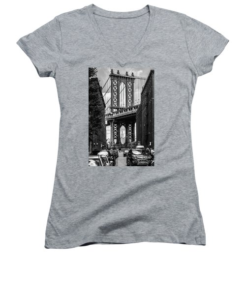 Empire State Building Framed By Manhattan Bridge Women's V-Neck (Athletic Fit)