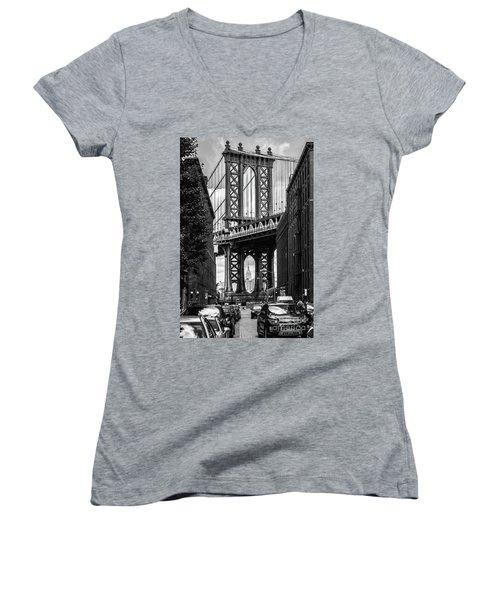 Empire State Building Framed By Manhattan Bridge Women's V-Neck (Athletic Fit)