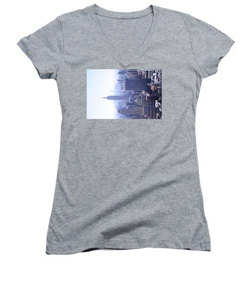 Empire State Building Women's V-Neck T-Shirt (Junior Cut) by Jeffson Chan