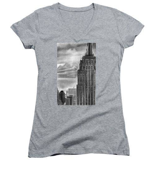 Empire State Building New York Pencil Drawing Women's V-Neck T-Shirt