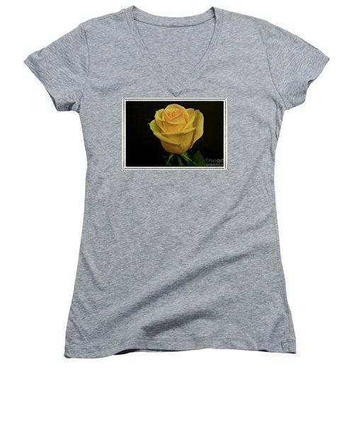 Women's V-Neck T-Shirt (Junior Cut) featuring the photograph Empress Rose by Marsha Heiken