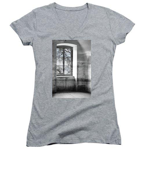 Women's V-Neck T-Shirt (Junior Cut) featuring the photograph Emptiness by Munir Alawi