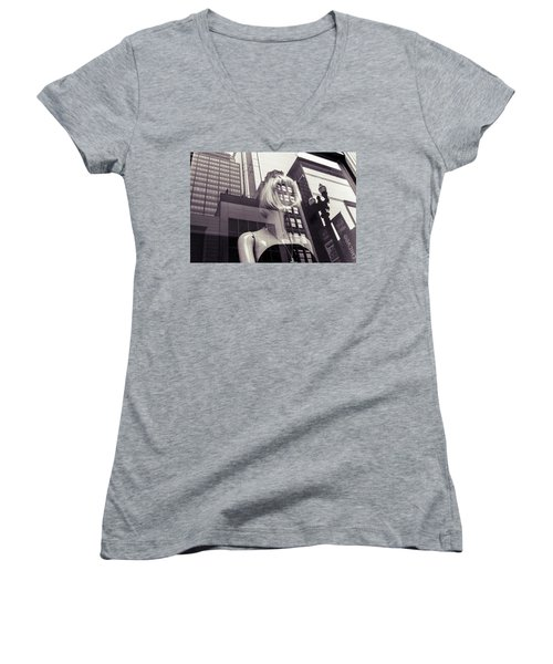 Women's V-Neck featuring the photograph Empty by Alex Lapidus