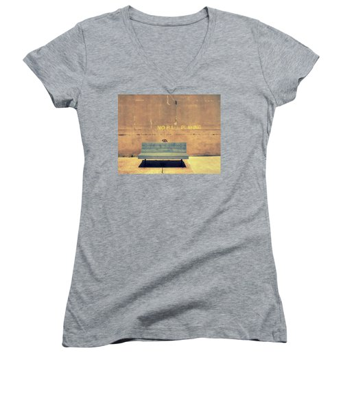 Empty Bench And Warning Women's V-Neck T-Shirt