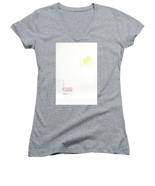 Empty Chair With Yellow Roses Women's V-Neck T-Shirt