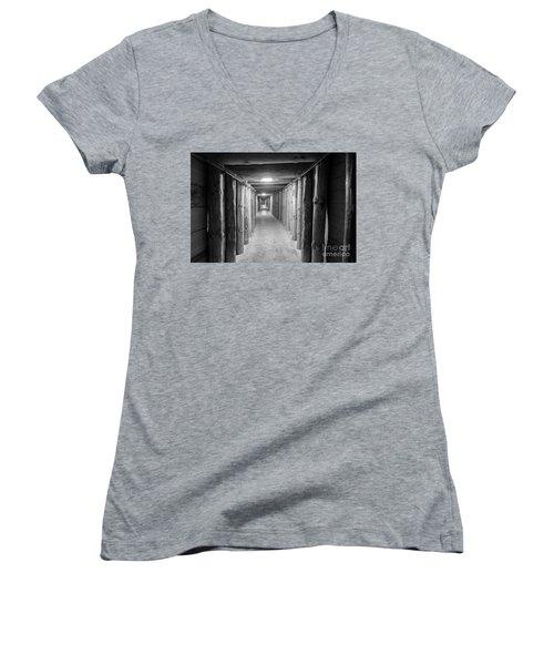Women's V-Neck T-Shirt (Junior Cut) featuring the photograph Empty Corridor by Juli Scalzi