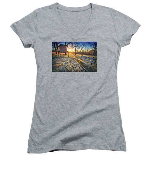 Empty Park Bench - Sunset At Lapham Peak Women's V-Neck T-Shirt (Junior Cut) by Jennifer Rondinelli Reilly - Fine Art Photography