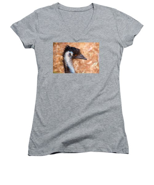 Emu Profile Women's V-Neck T-Shirt (Junior Cut) by Mike  Dawson