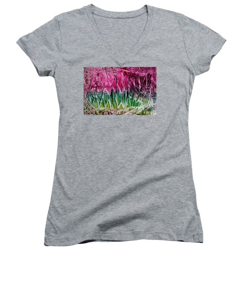 Encaustic Abstract Pinks Greens Women's V-Neck