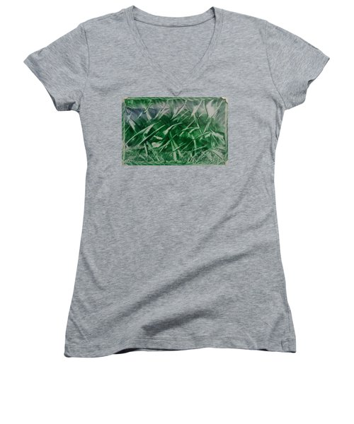 Encaustic Green Foliage With Some Blue Women's V-Neck