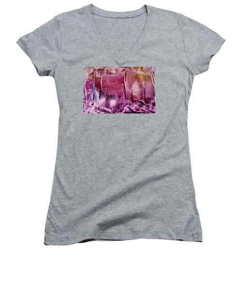 Encaustic Purple-pink Abstract Castles Women's V-Neck