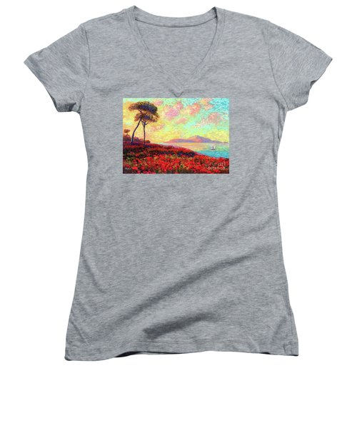 Enchanted By Poppies Women's V-Neck T-Shirt