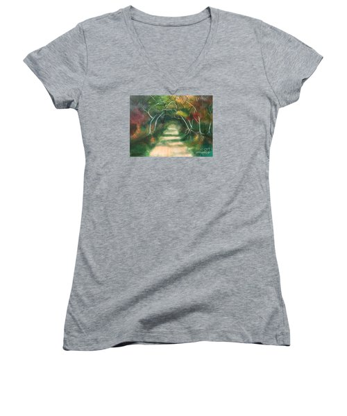 Women's V-Neck T-Shirt (Junior Cut) featuring the painting Enchanted Forest by Denise Tomasura