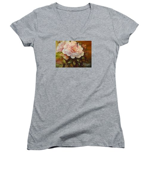 Women's V-Neck T-Shirt (Junior Cut) featuring the painting Enchanted by Patricia Schneider Mitchell