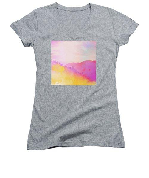 Women's V-Neck T-Shirt (Junior Cut) featuring the digital art Enchanted Scenery #2 by Klara Acel