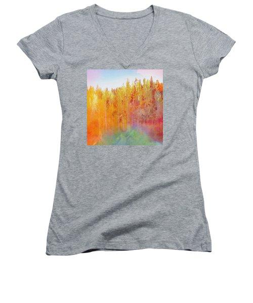 Enchanted Scenery #3 Women's V-Neck T-Shirt (Junior Cut) by Klara Acel