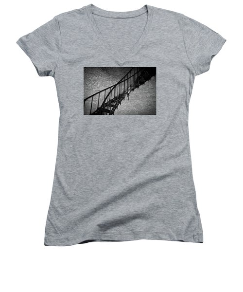 Enchanted Staircase II - Currituck Lighthouse Women's V-Neck T-Shirt (Junior Cut) by David Sutton