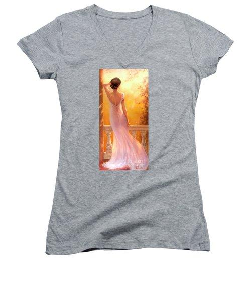 Enchanted Summer Women's V-Neck T-Shirt (Junior Cut) by Michael Rock