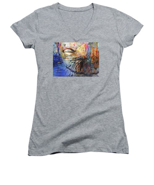 Enchanted Waters Women's V-Neck T-Shirt (Junior Cut) by P Anthony Visco