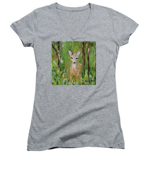 Women's V-Neck T-Shirt featuring the painting Enchantment by Judith Rhue