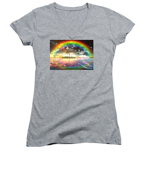 Encountering The Holy Spirit Women's V-Neck T-Shirt (Junior Cut) by Dolores Develde
