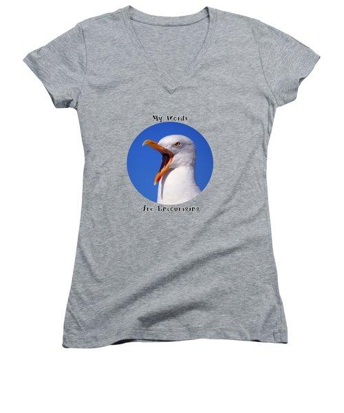 Encouraging Words Women's V-Neck T-Shirt (Junior Cut) by Judi Saunders