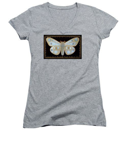 Women's V-Neck T-Shirt (Junior Cut) featuring the painting Encryption by Laurie Stewart