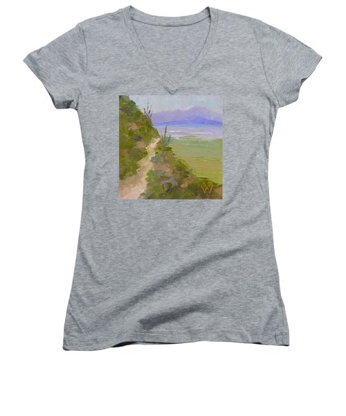 End Of Day At Gates Pass Women's V-Neck T-Shirt