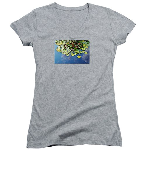 End Of July Water Lilies In The Clouds Women's V-Neck T-Shirt (Junior Cut) by Janis Nussbaum Senungetuk