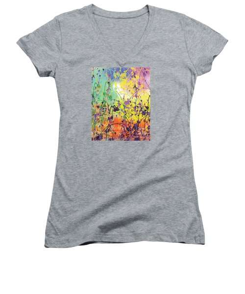 Women's V-Neck T-Shirt (Junior Cut) featuring the digital art End Of Summer 2015 by Trilby Cole