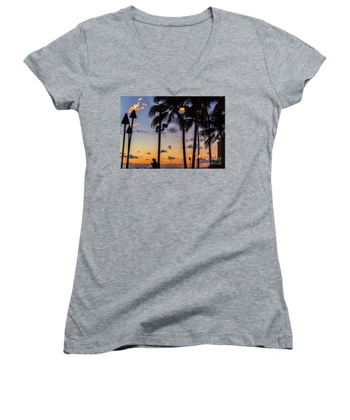 End Of The Beutiful Day.hawaii Women's V-Neck