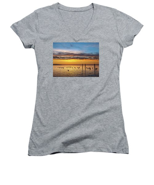 End Of The Day On Humboldt Bay Women's V-Neck T-Shirt (Junior Cut) by Greg Nyquist