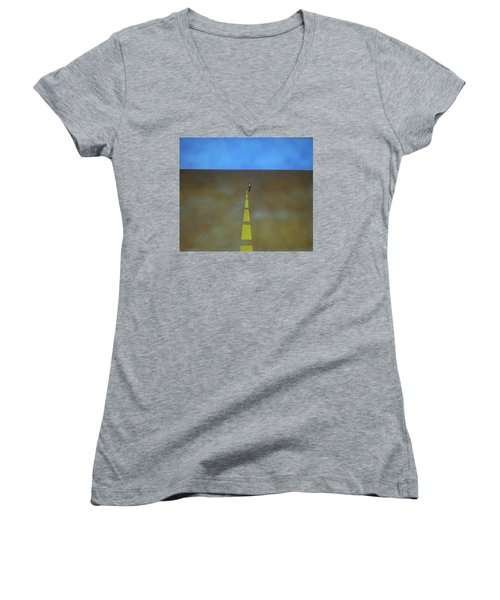 Women's V-Neck T-Shirt (Junior Cut) featuring the painting End Of The Line by Thomas Blood