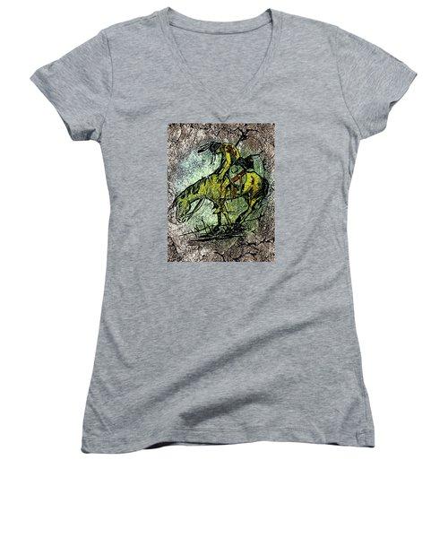 End Of The Trail 2 Women's V-Neck T-Shirt (Junior Cut) by Ayasha Loya