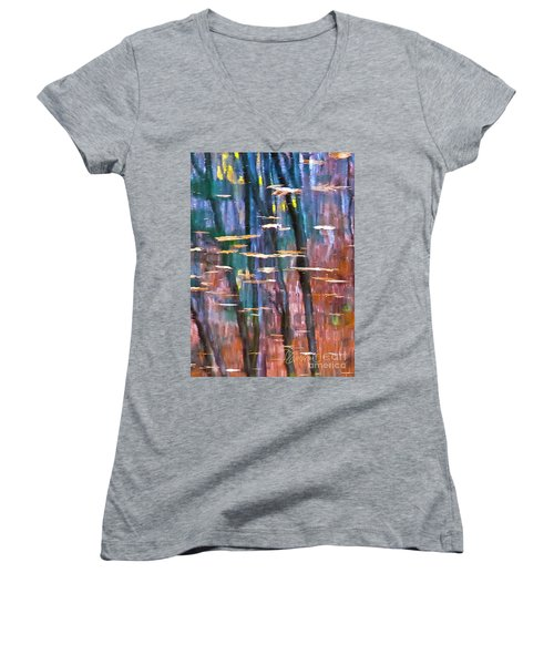 Women's V-Neck T-Shirt (Junior Cut) featuring the photograph Enders Reflection by Tom Cameron