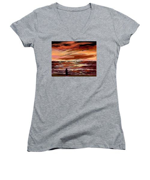 Women's V-Neck T-Shirt (Junior Cut) featuring the digital art Endless by Desline Vitto