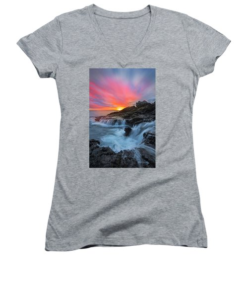 Endless Sea Women's V-Neck T-Shirt (Junior Cut) by James Roemmling