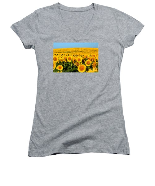 Endless Sunflowers Women's V-Neck T-Shirt (Junior Cut) by Catherine Sherman