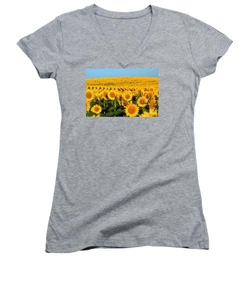 Endless Sunflowers Women's V-Neck T-Shirt (Junior Cut)