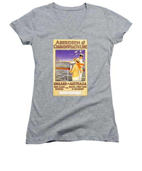 England To Australia Women's V-Neck T-Shirt (Junior Cut) by Nostalgic Prints