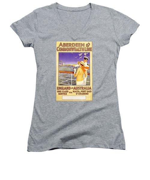 England To Australia Women's V-Neck T-Shirt