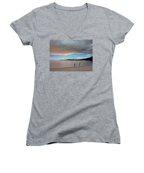 English Bay Vancouver Women's V-Neck T-Shirt (Junior Cut) by Kenneth M  Kirsch